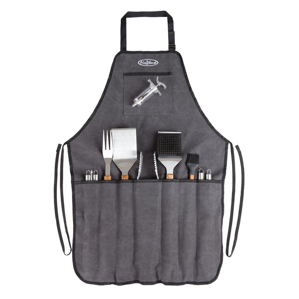 Elite 13-Piece Stainless Steel BBQ Tool Set in Charcoal