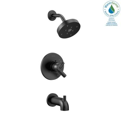 Trinsic 1-Handle Wall Mount Tub and Shower Faucet Trim Kit in Matte Black with H2OKinetic (Valve Not Included)