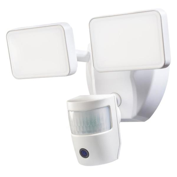 Video Wi-Fi Connected White Wired Twin Head LED Motion Activated Outdoor Security Flood Light 2000 Lumens