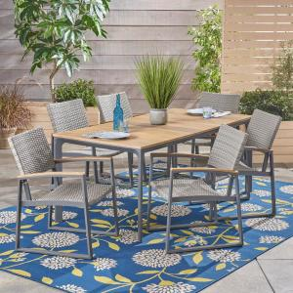 Noble House Westcott Gray 7 Piece Aluminum Outdoor Dining