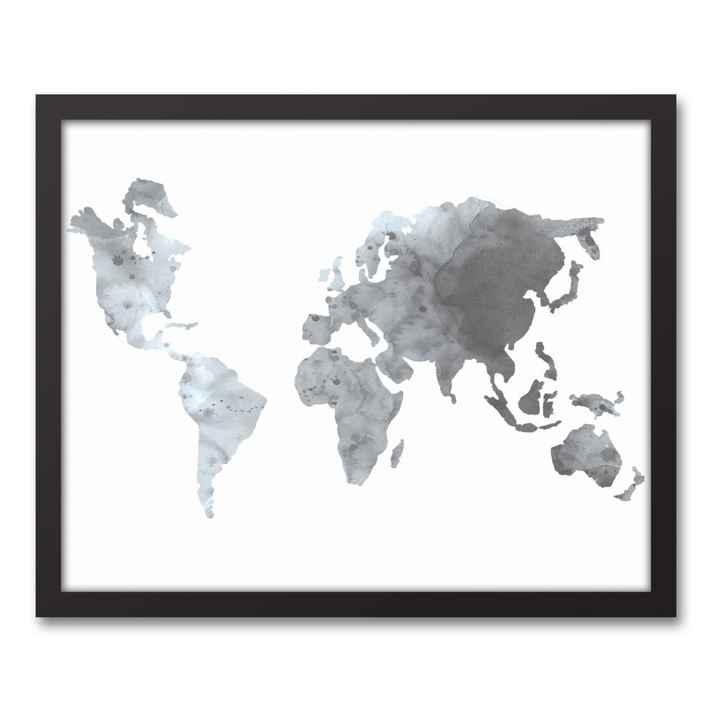 Designs direct 16 in x 20 in gray world map printed framed gray world map gumiabroncs Gallery
