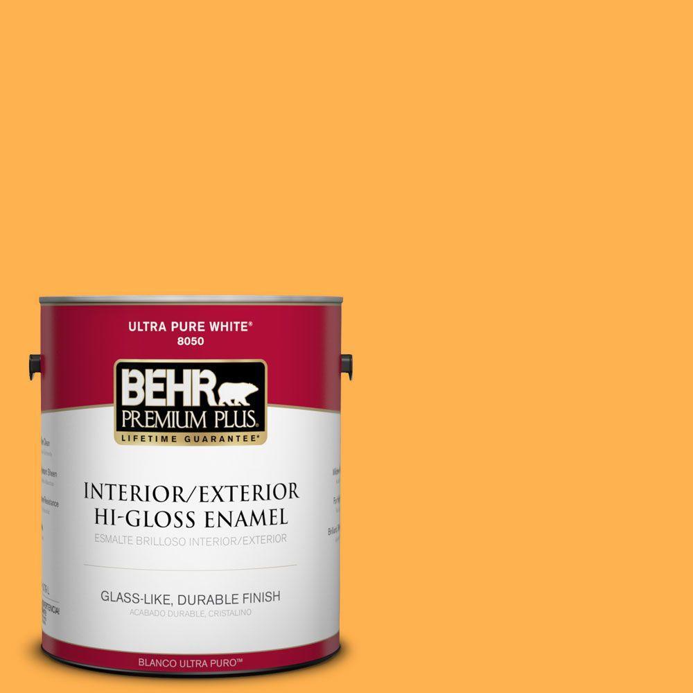 BEHR Premium Plus 1-gal. #P250-6 Splendor Gold Hi-Gloss Enamel Interior/Exterior Paint