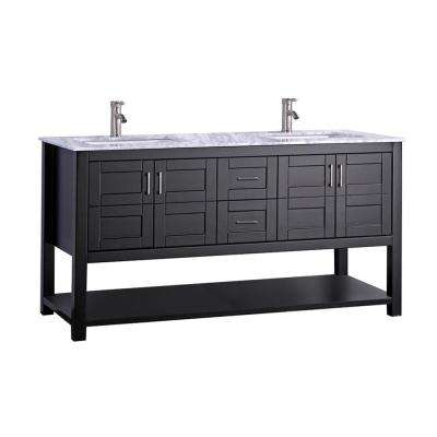 Nord 72 in. W x 22 in. D x 36 in. H Double Vanity in Espresso with Grey/White Carrara Marble Vanity Top with White Sink