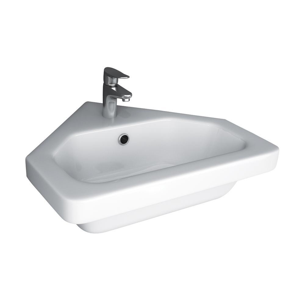 Resort Corner Wall-Mount Sink in White