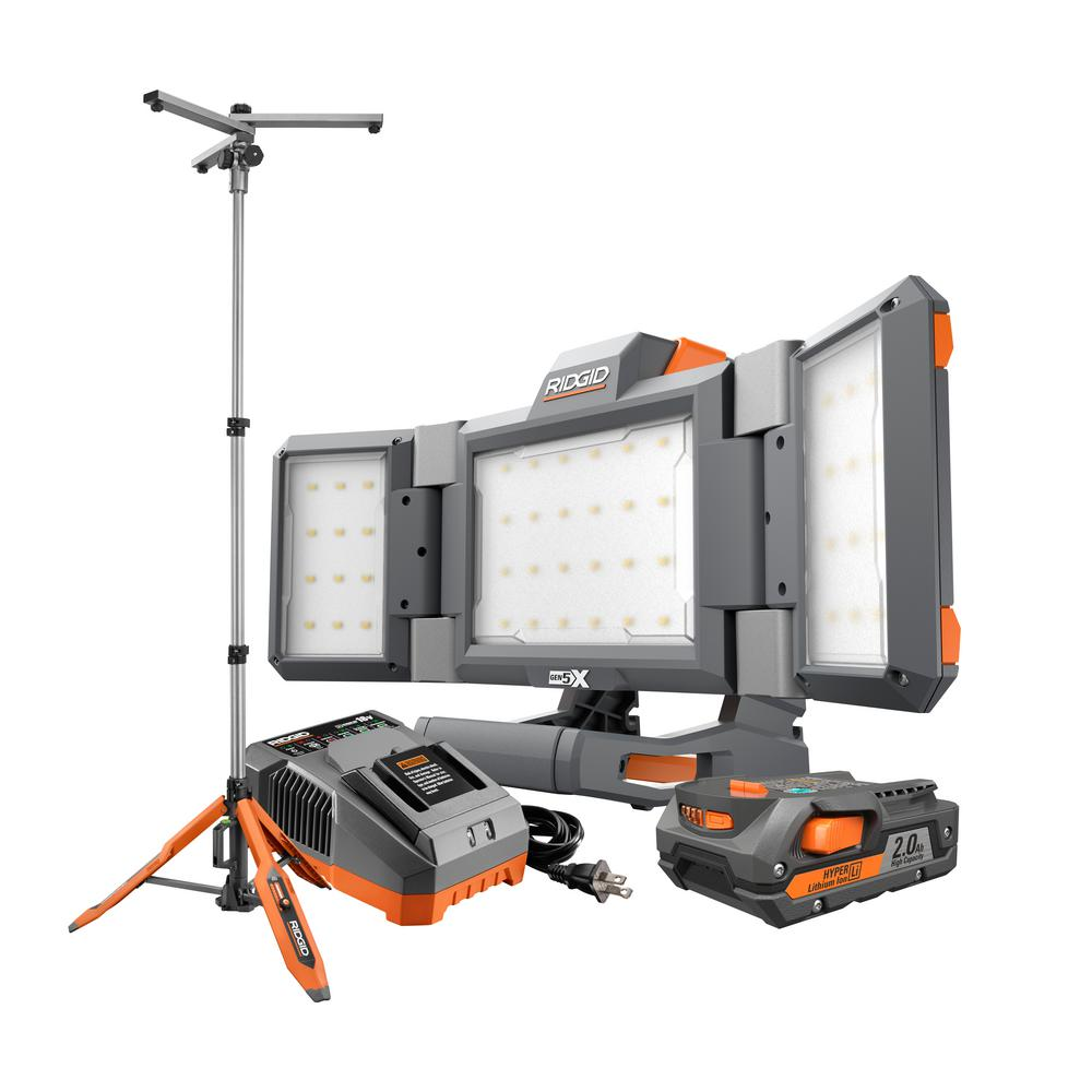 RIDGID 18-Volt Lithium-Ion Cordless Hybrid Panel Light Kit with 7 ft. Universal Stand with (1) 2.0 Ah Battery and Charger