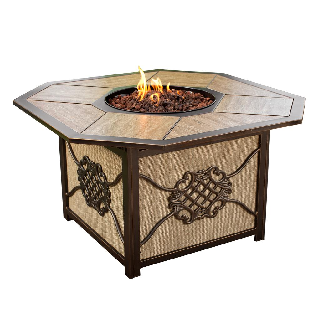 7 in. x 7 in. Octagon Gas Firepit Table with Porcelain Inlaid Top  Aluminum Burner System and Red Lava Rock