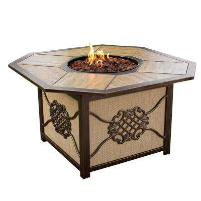 43 in. x 24 in. Octagon Gas Firepit Table with Porcelain Inlaid Top Aluminum Burner System and Red Lava Rock