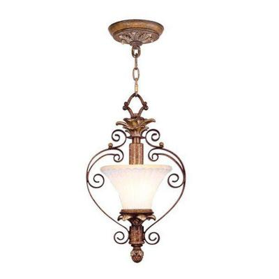 1-Light 15 in. Venetian Patina Chandelier with Vintage Carved Scavo Glass Shade