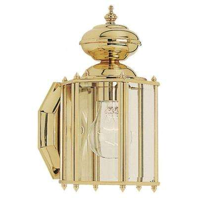 Classico 1-Light Outdoor Polished Brass Wall Mount Fixture