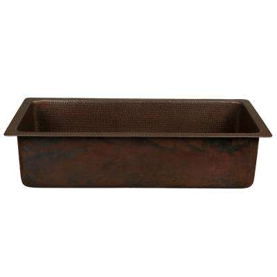 Dual Mount Hammered Copper 28 in. Single Bowl Kitchen/Bar/Prep Sink in Oil Rubbed Bronze