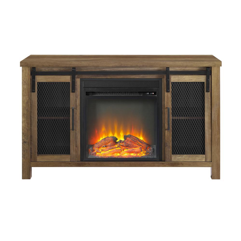 Walker Edison Furniture Company 48 in. Rustic Oak Rustic Farmhouse Fireplace