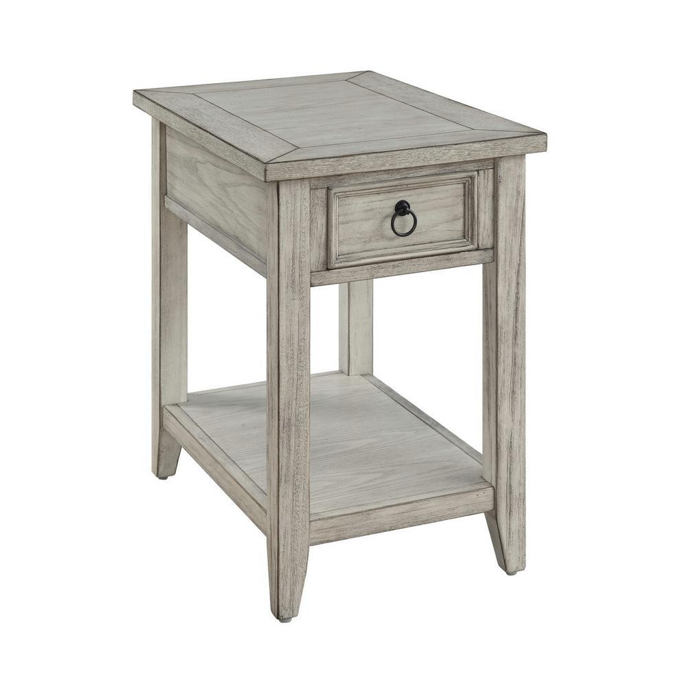 Garret Burnished Cream Summerville 1-Drawer Chairside Table