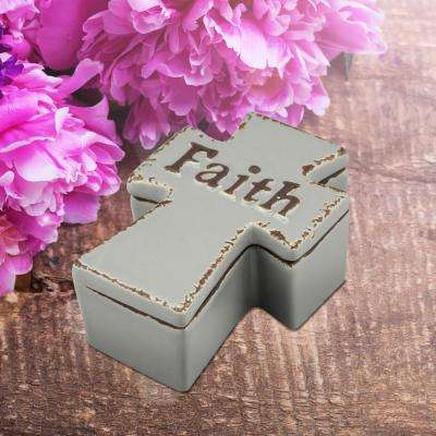 4.75 in. x 2 in. Worn Cider Ceramic Cross Shaped Faith Trinket Box