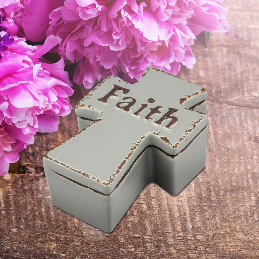 4.75 in. x 2 in. Worn Cider Ceramic Cross Shaped Faith Trinket Box