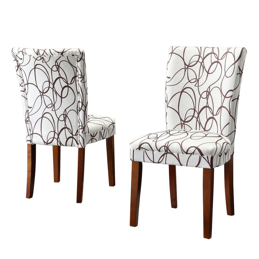 Home Decorators Collection 18 in. H Brownie Scrolls Print Side Chairs (Set of 2)-DISCONTINUED