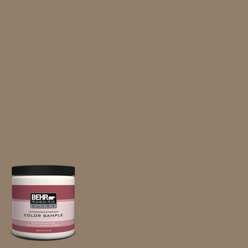BEHR Premium Plus Ultra Home Decorators Collection 8 oz. #HDC-NT-11 Sandalwood Tan Flat Interior/Exterior Paint and Primer in One Sample