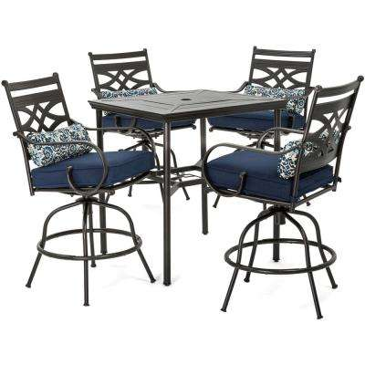 Montclair 5-Piece Steel Outdoor Bar Height Dining Set with Navy Blue Cushions, 4-Swivel Chairs and a 33 in. Dining Table