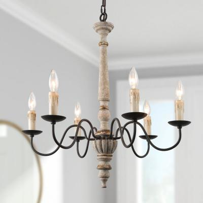 6-Light Persian Distressed Cream French Country Wood Chandelier Farmhouse White Dining Island Ceiling Pendant