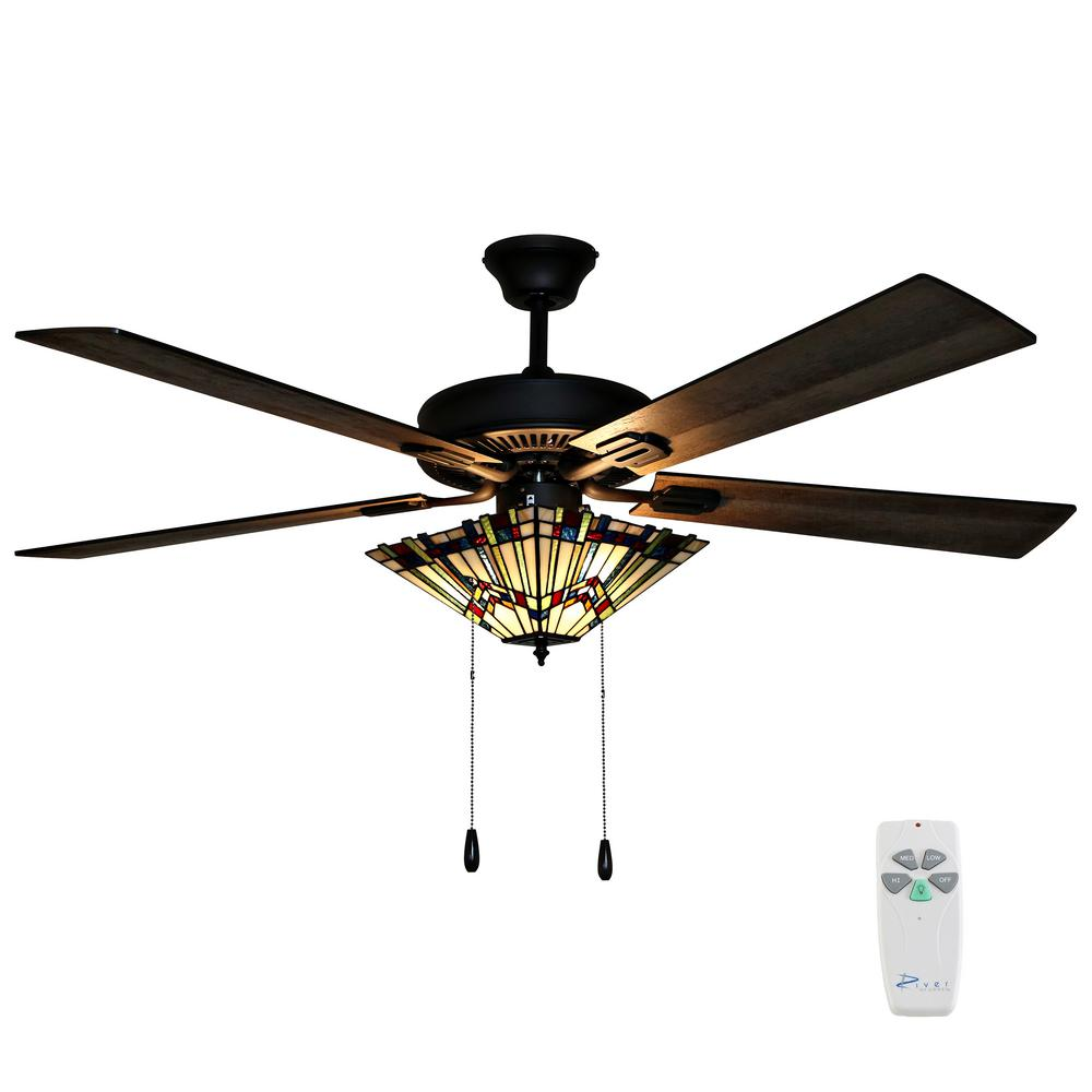 River of Goods Michelangelo 52 in. Oil Rubbed Bronze Mission Stained Glass Ceiling Fan with Light and Remote