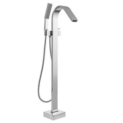 Single-Handle Freestanding Tub Faucet with Handheld Shower Wand in Chrome