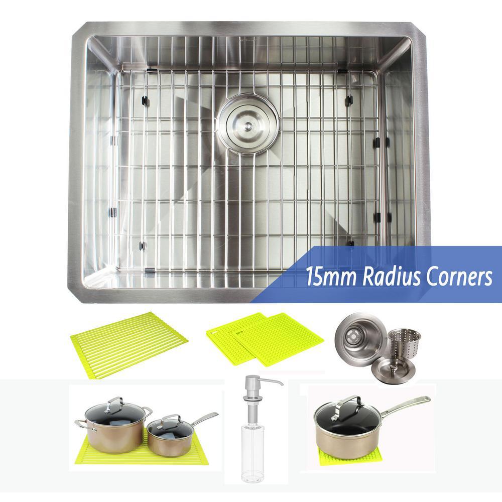 Undermount 16-Gauge Stainless Steel 23 in. x 18 in. x 10 in. Single Bowl Kitchen Sink Combo