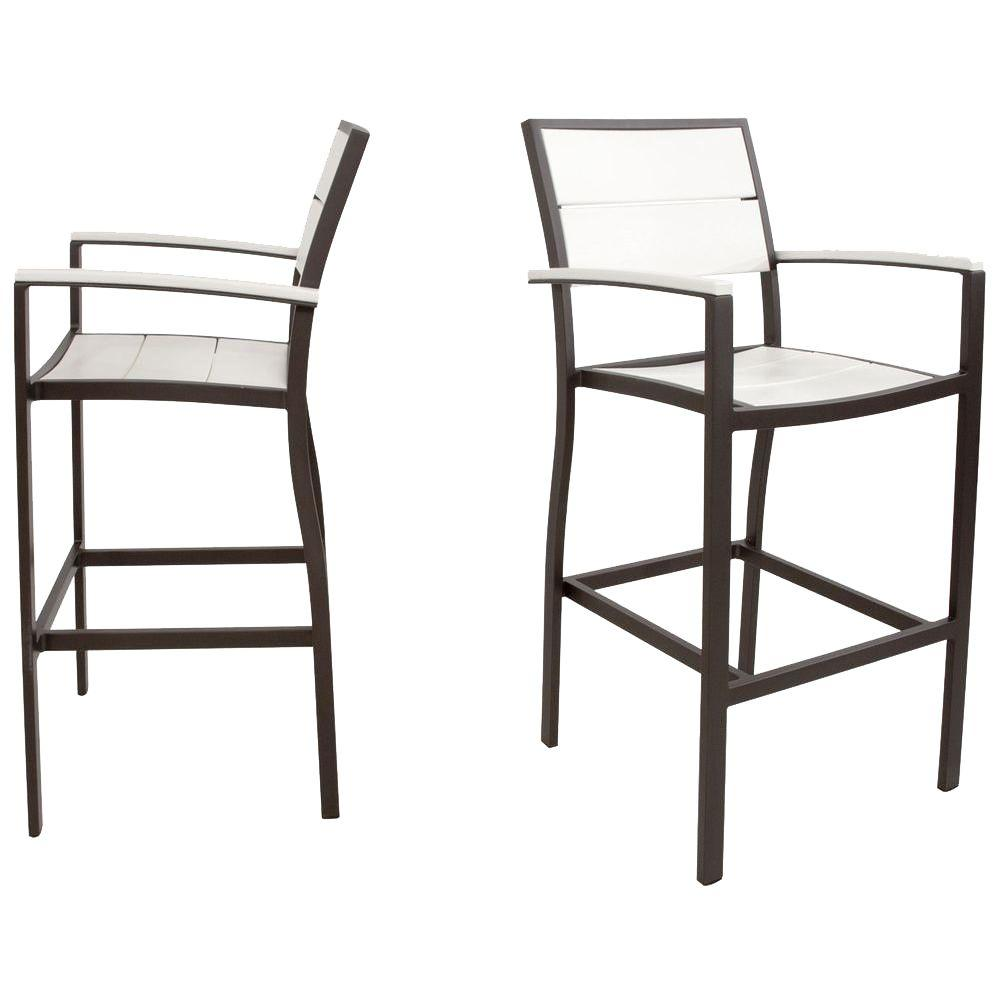 Trex Outdoor Furniture Surf City Textured Bronze 2-Piece Patio Bar Chair Set with Classic White Slats