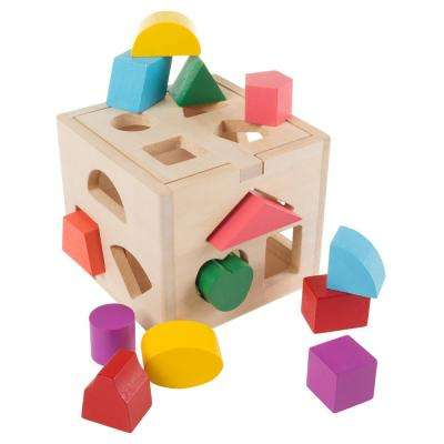 Wooden Shape Sorter Toddler Toy with 12 Blocks