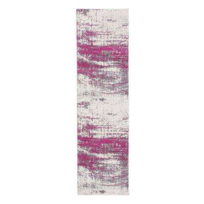 Distressed Modern Abstract Design 2 ft. x 7 ft. Pink Runner Rug