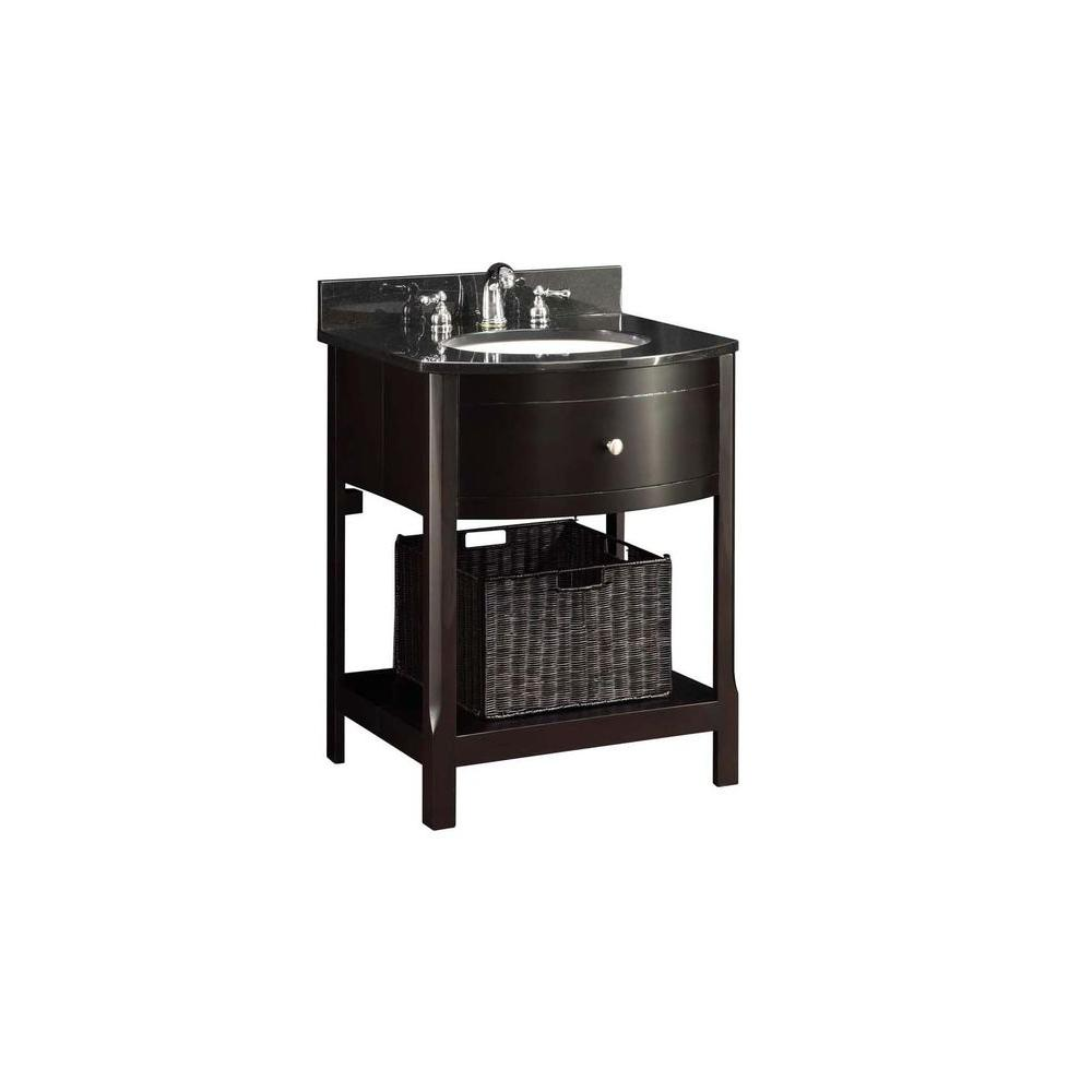 Home Decorators Collection 25 in. Vanity in Espresso with HeBei Marble Vanity Top in Black and White Basin