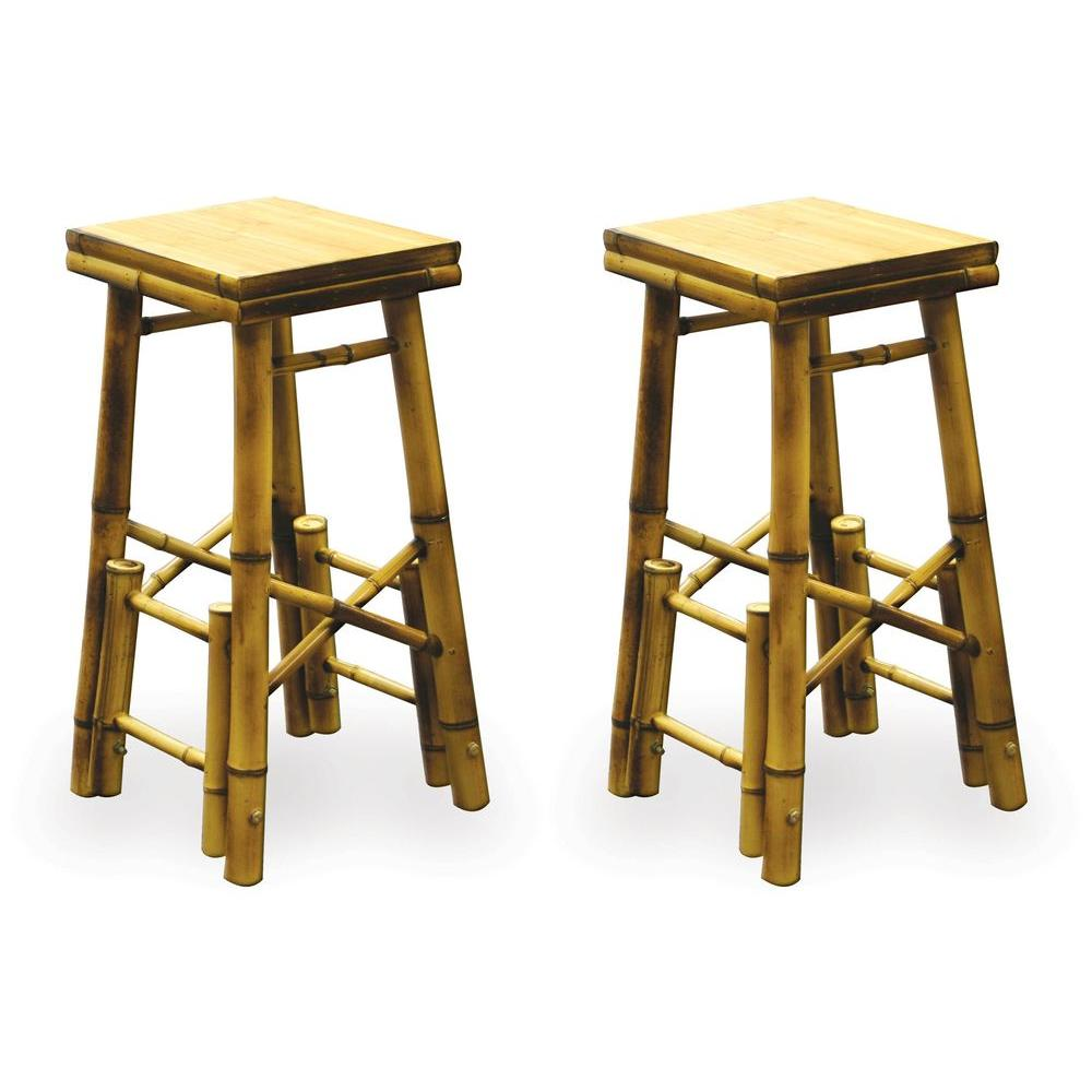 null Bamboo Patio Stool (Set of 2)-DISCONTINUED