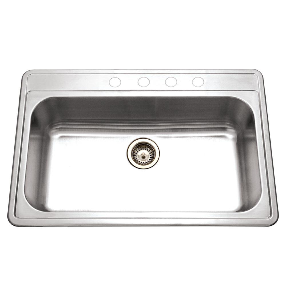 Premiere Gourmet Series Drop-in Stainless Steel 33 in. 4-Hole Single Bowl Kitchen Sink