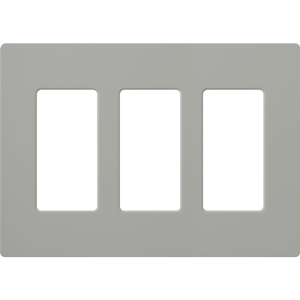 Claro 3 Gang Decorator Wallplate, Gray