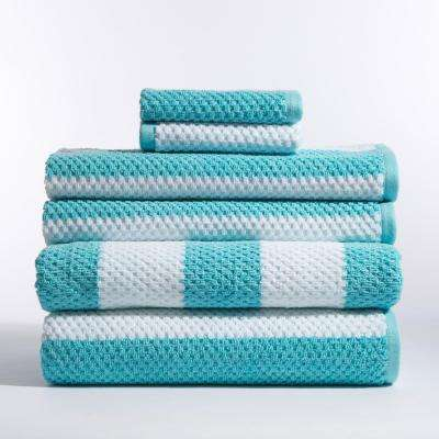 Stripes 6-Piece Bath Towel in Rugby Turq