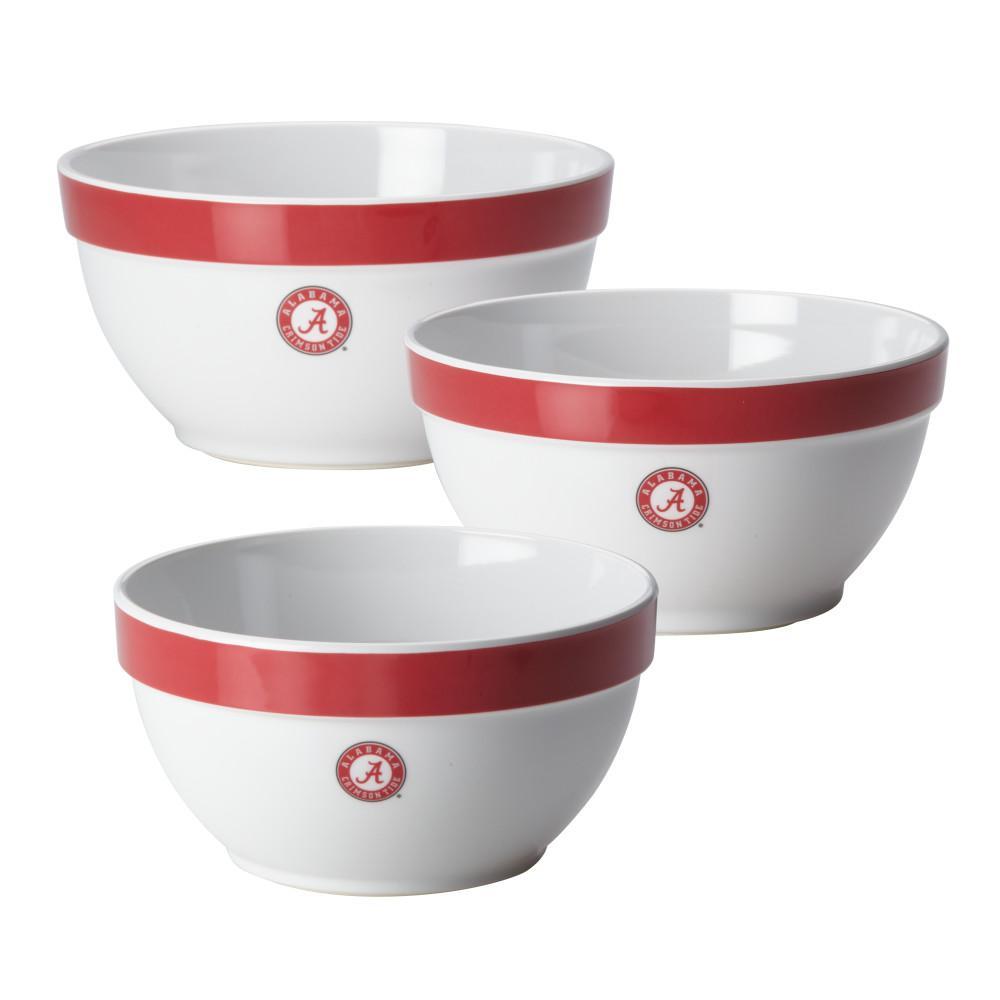 Alabama Party Bowls Set, 3-Piece, Crimson Red