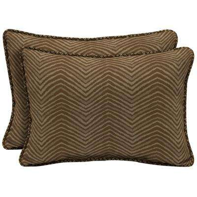 Zebra Oversize Lumbar Outdoor Throw Pillow with Welt (2-Pack)