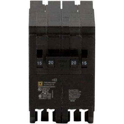 Homeline 2-15 Amp Single-Pole 1-20 Amp 2-Pole Quad Tandem Circuit Breaker