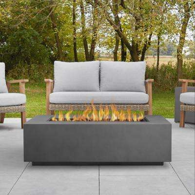 Aegean 50 in. x 15 in. Rectangle Steel Propane Fire Pit Table in Weathered Slate with NG Conversion Kit