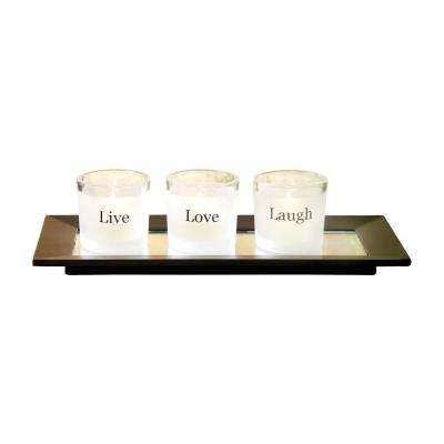 Sentiments 3 in. x 10 in. Black Wood, Clear and Frosted Glass Tray Candle Holders