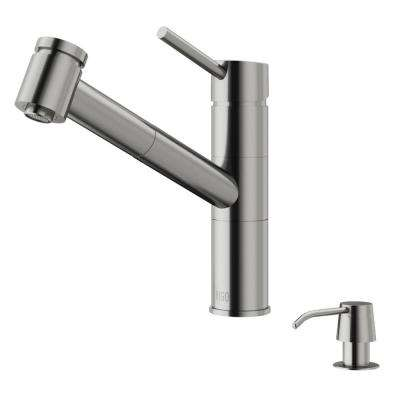 Branson Single-Handle Pull-Out Sprayer Kitchen Faucet with Soap Dispenser in Stainless Steel