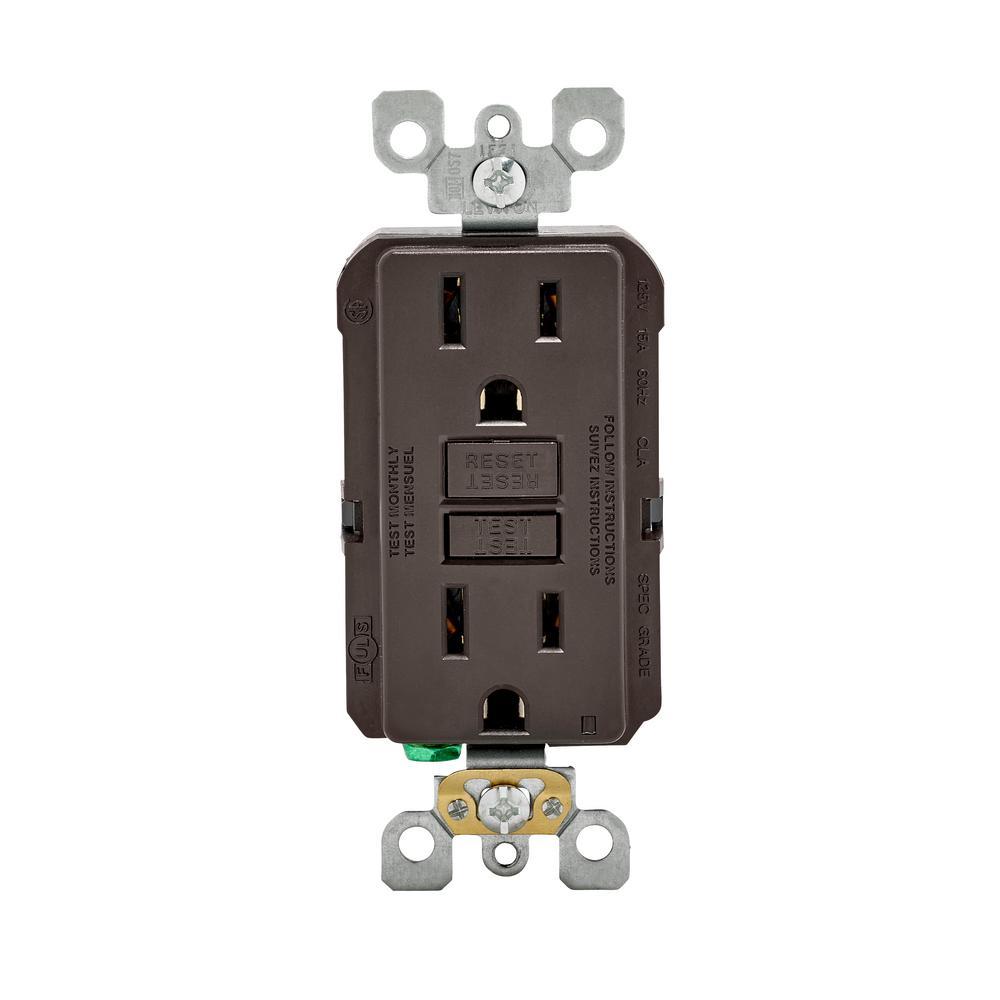 15 Amp Self-Test SmartlockPro Slim Duplex GFCI Outlet, Brown