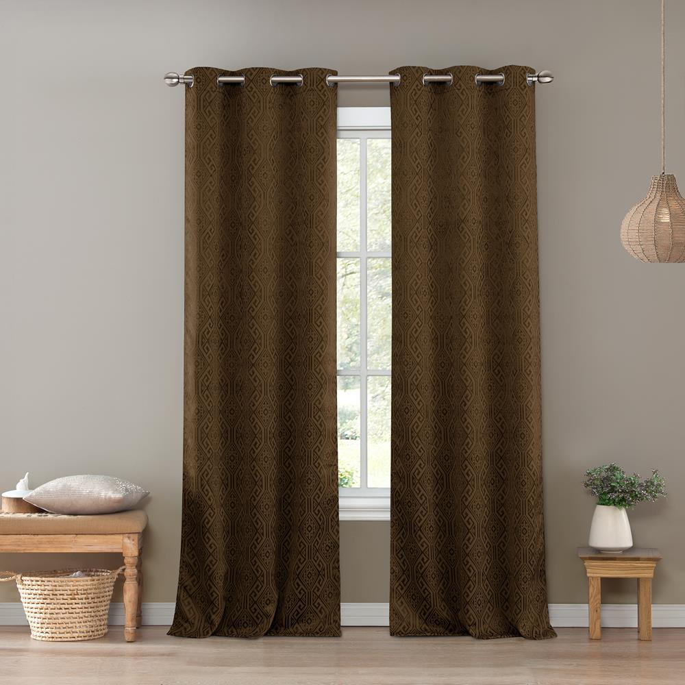 Kelvin Santo 36 in. W x 96 in. L Polyester Window Panel in Chocolate