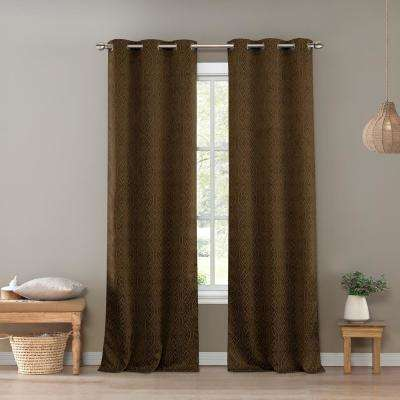 Santo 36 in. W x 96 in. L Polyester Window Panel in Chocolate