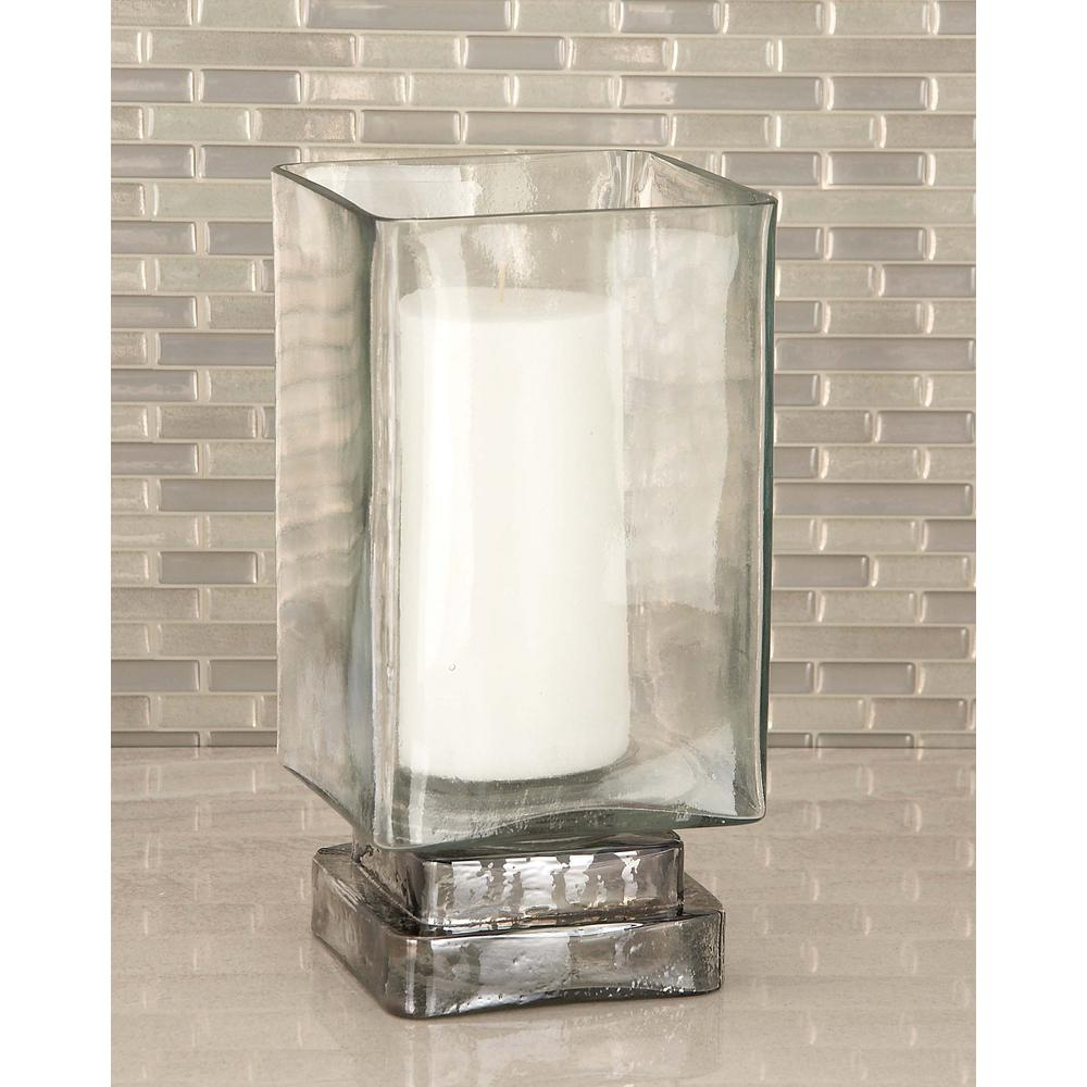 Rectangular Frosted Glass Hurricane Candle Holder