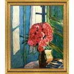 """""""Carnations with Versailles Gold Queen"""" by Pierre Bonnard Framed Abstract Wall Art Oil Painting 25 in. x 29 in."""