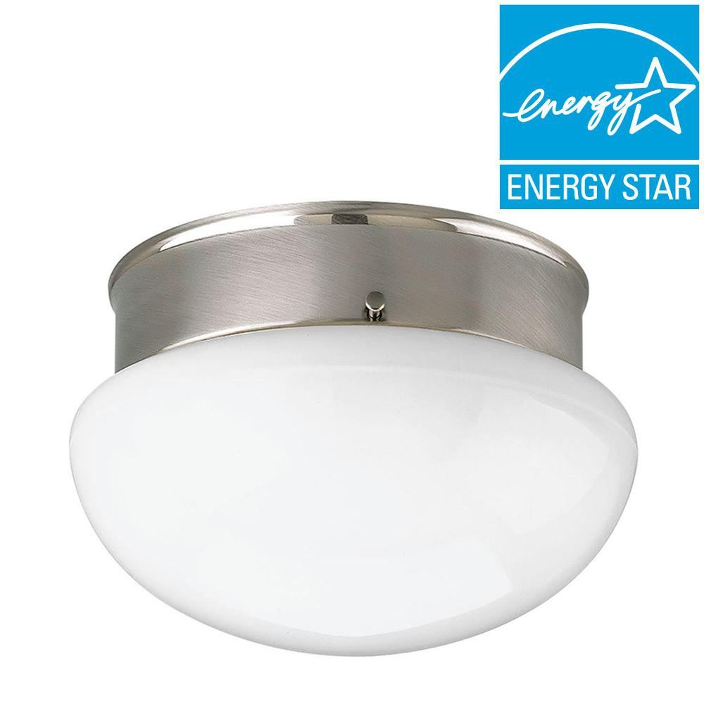 2-Light Brushed Nickel Flushmount with White Frosted