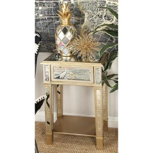 Beige Accent Table with Drawer and Mirror Panels by