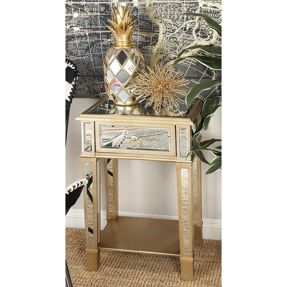 Beige Accent Table with Drawer and Mirror Panels