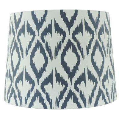 15 in. W x 11 in. H White and Black Hardback Empire Lamp Shade