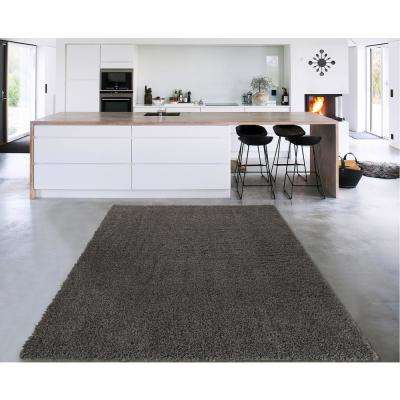 Cozy Shag Collection Charcoal Grey 7 ft. 10 in. x 9 ft. 10 in. Indoor Area Rug