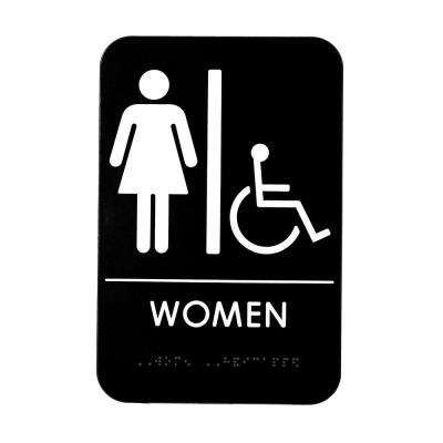 9 in. x 6 in. Women's Braille Handicapped Restroom Sign